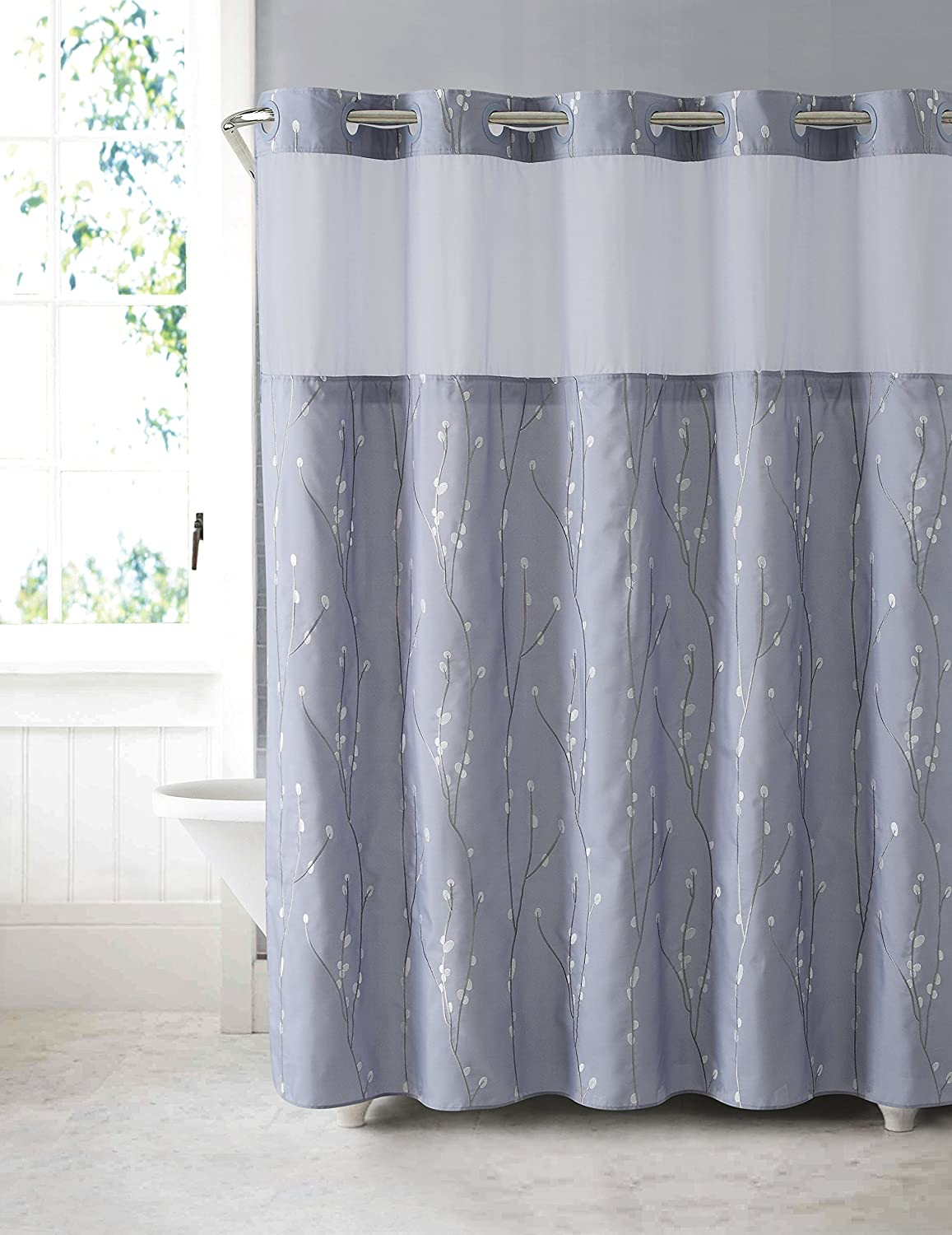 Purple Grey Hookless RBH40MY081 Cherry Bloom Shower Curtain with Peva Liner