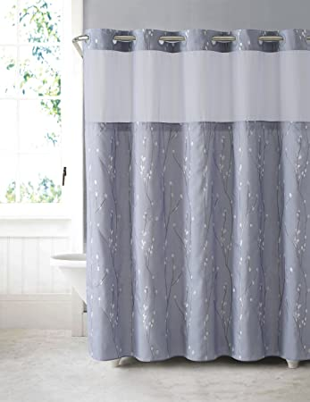 Hookless RBH40MY081 Cherry Bloom Shower Curtain with Peva Liner   Purple  GreyAmazon com  Hookless RBH40MY081 Cherry Bloom Shower Curtain with  . Purple Shower Curtain Liner. Home Design Ideas
