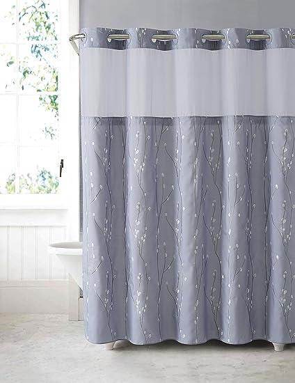 Arcs U0026 Angles Hookless RBH40MY081 Cherry Bloom Shower Curtain With Peva  Liner   Purple Grey