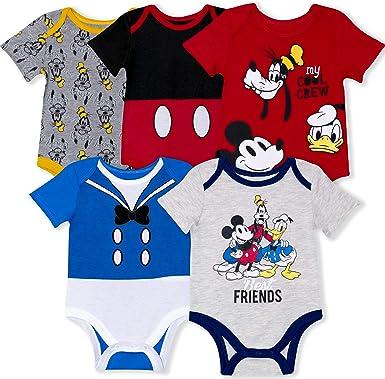 Disney - Pack de 5 enterizos para bebé con Mickey, Donald, Goofy ...