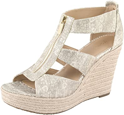 9edea1bb7a6f Michael Michael Kors Women¡¯s Pale Gold Embossed Ring Lizard Damita Wedge  Sandals 10