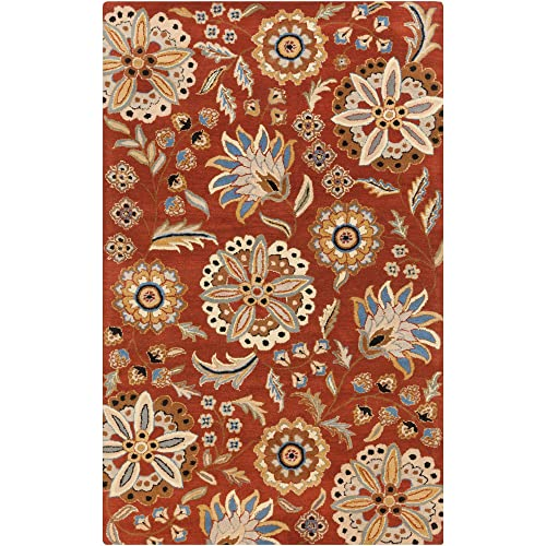 Surya Athena ATH-5126 Hand Tufted Wool Floral and Paisley Accent Rug, 4-Feet by 6-Feet