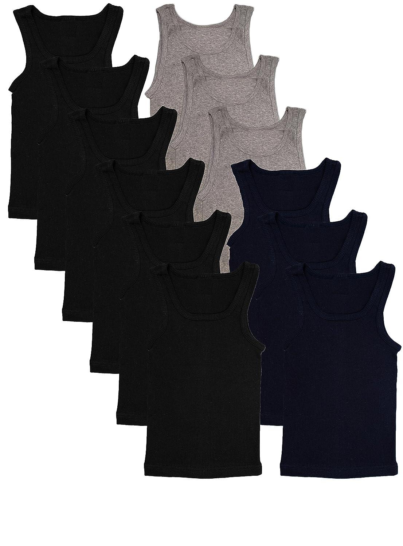 Andrew Scott Basics Boys 12 Pack Color A-Shirt Sport Tank Top Undershirts