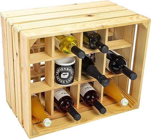 Caja kolli Altes Land Botella estante Henry/natural/, vetado tamaño aprox. 50 x 40 x 30 cm Caja botella estante Botellero Estantería manzana caja/vino caja: Amazon.es: Juguetes y juegos