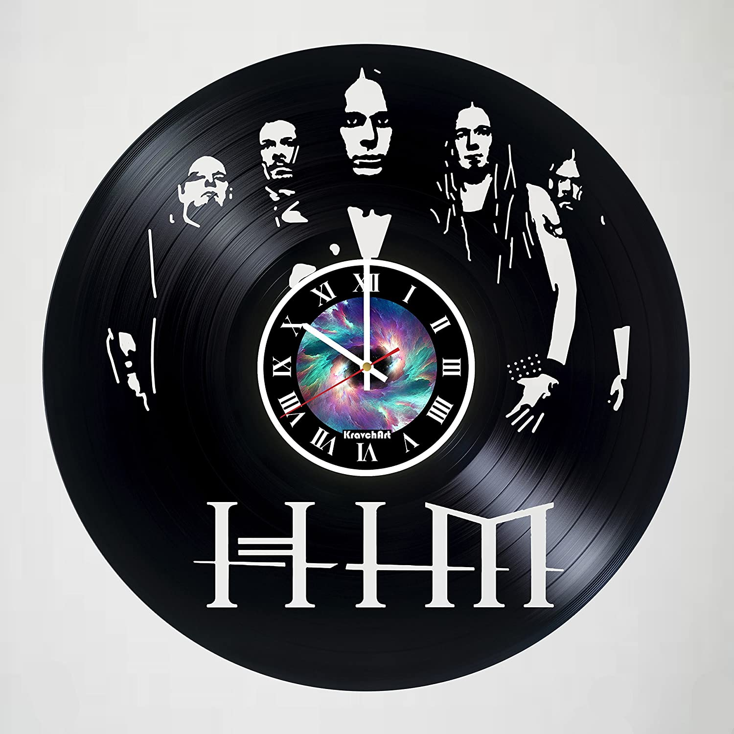 KravchArt H.I.M - Music Band Design Handmade Vinyl Record Wall Clock for Birthday Wedding Anniversary Valentine's Mother's Ideas for Men and Women him and her