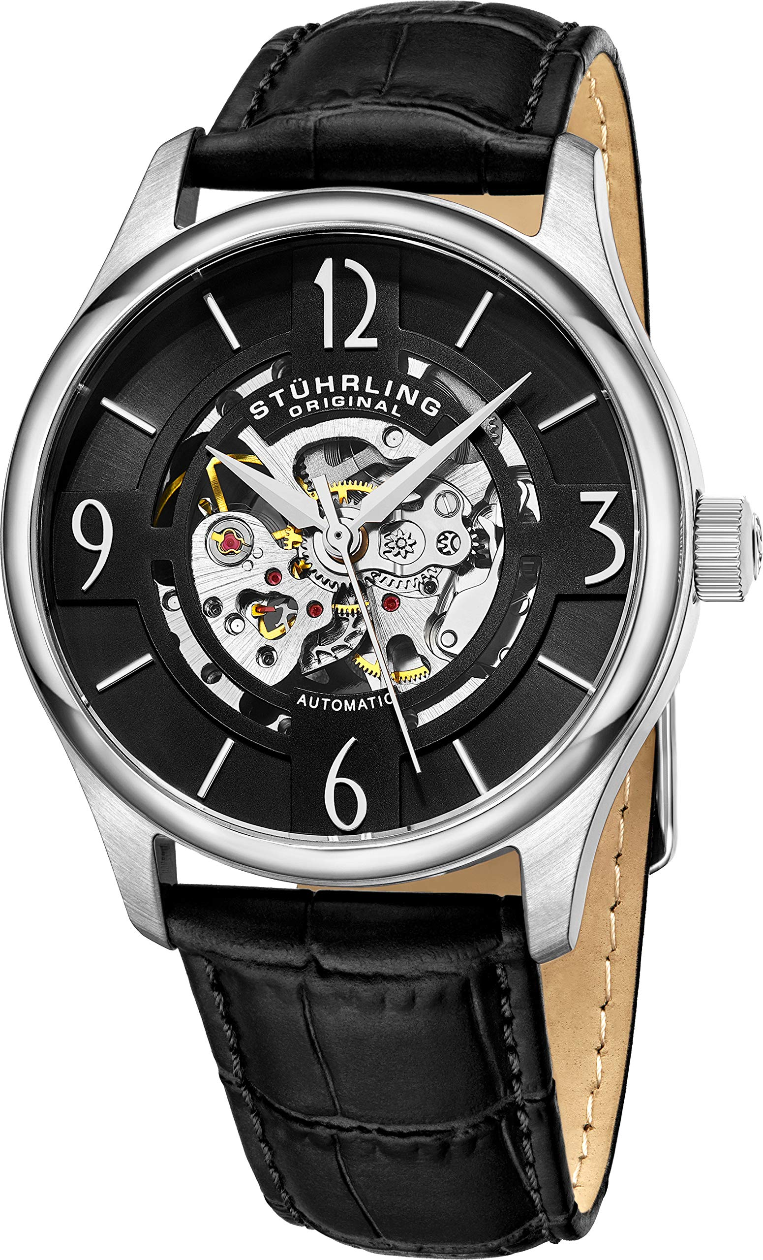 Stuhrling Original Mens''Specialty Atrium'' Skeleton Automatic Self Winding Dress Watch with Premium Leather Band
