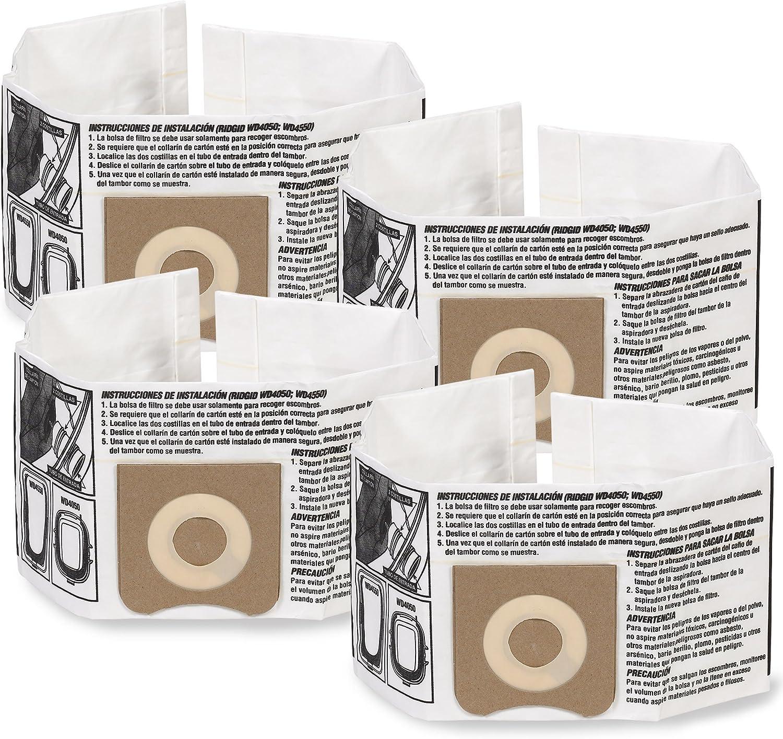 WORKSHOP Wet Dry Vacuum Bags WS32045F2 Fine Dust Collection Shop Vacuum Bags (2-Pack / 4 Shop Vacuum Bags), Bag Filter For WORKSHOP 3-Gallon To 4-1/2 Gallon Shop Vacuum Cleaners