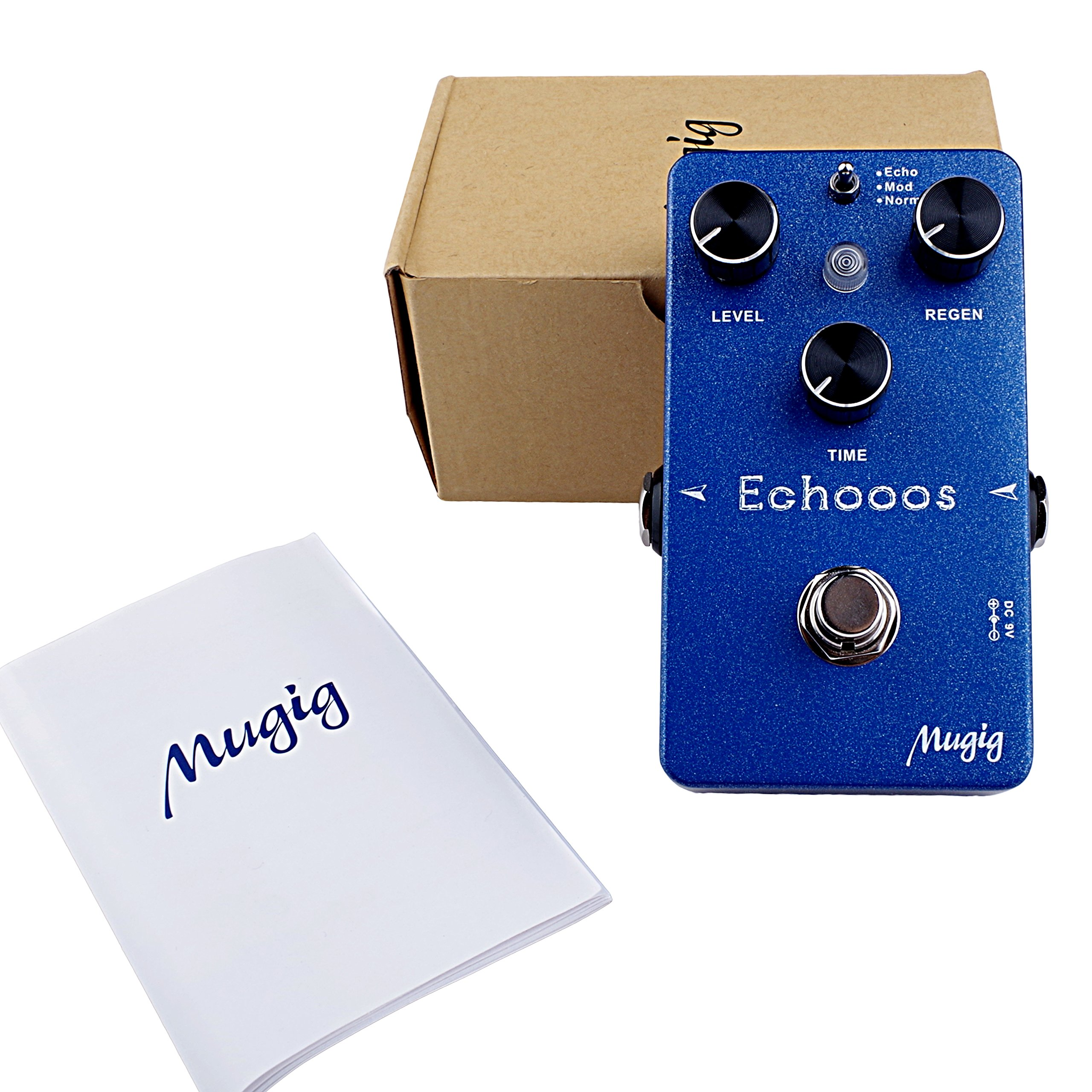 Mugig Digital Delay Guitar Effects Pedal , Three Modes, Echo/Mod/Normal, True Bypass