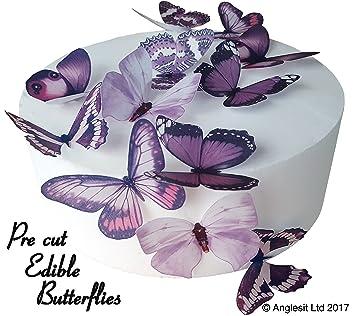 Obleas de papel de arroz comestible para decoración de tartas, diseño de bonitas mariposas precortadas de ...