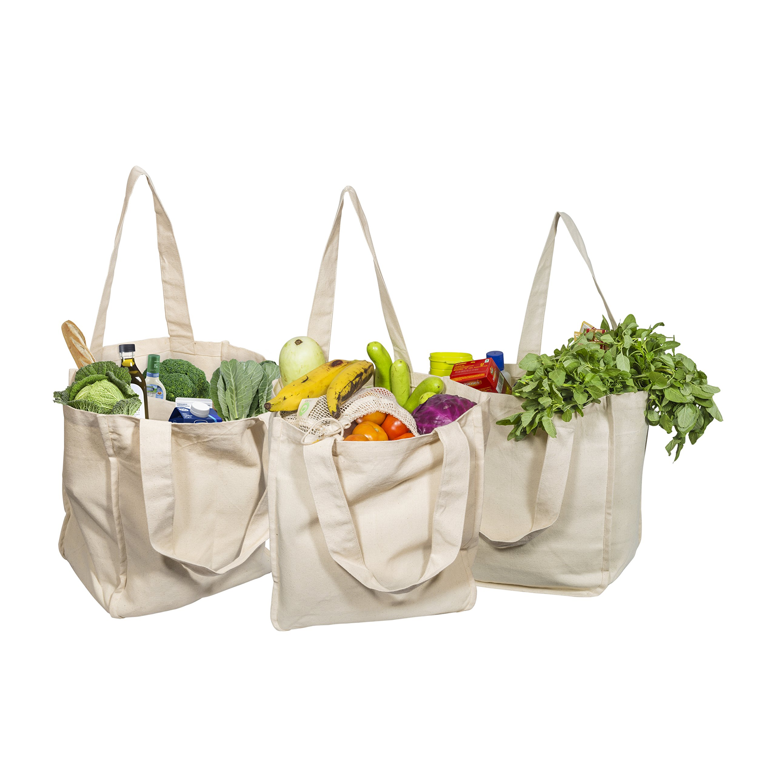Best Canvas Grocery Shopping Bags - Canvas Grocery Shopping Bags with Handles - Cloth Grocery Tote Bags - Reusable Shopping Grocery Bags - Organic Cotton Washable & Eco-friendly Bags (Pack of 3)