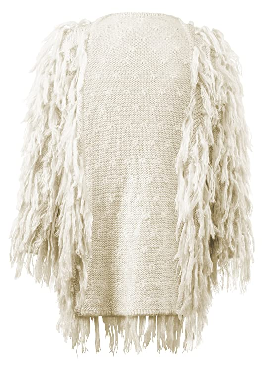 70s Jackets, Furs, Vests, Ponchos Womens Beige Fringe Shaggy Faux Fur Open Jacket Cardigan $59.90 AT vintagedancer.com