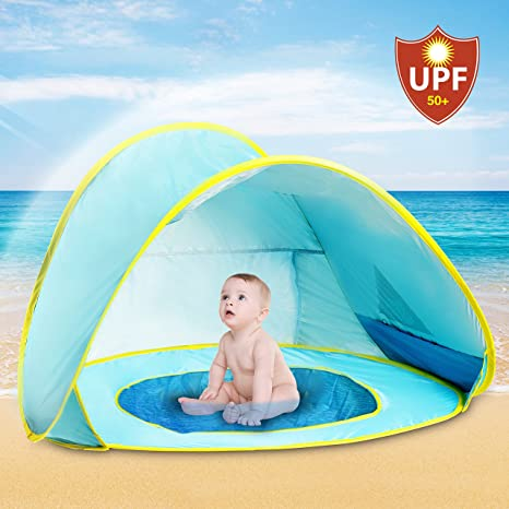 adb99dc83 Hippo Creation UV Protection Baby Beach Tent with Pool, Pop-up Sun Canopy  Shelter