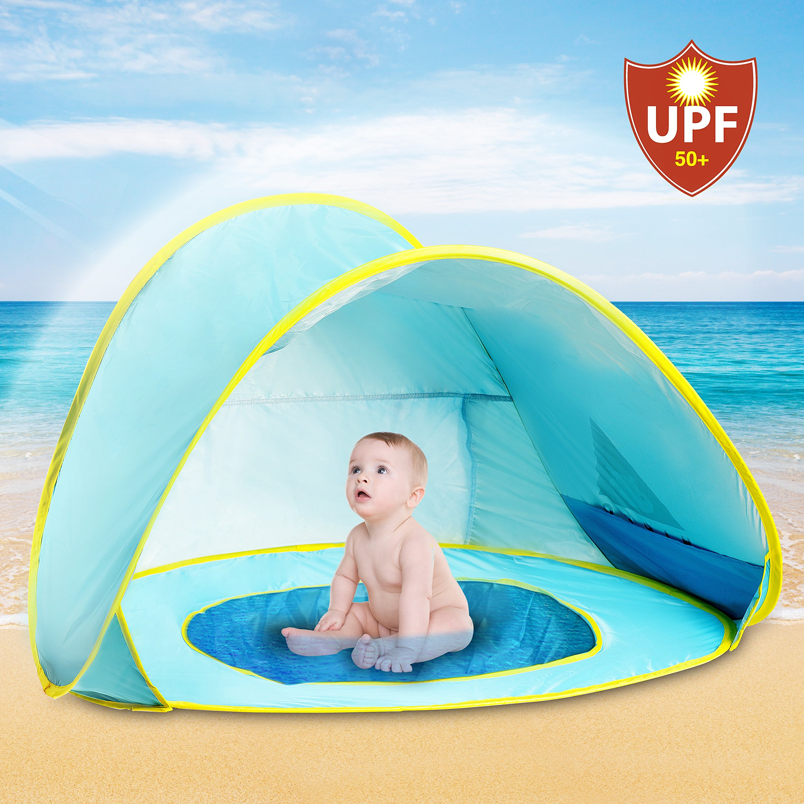 Hippo Creation UV Protection Baby Beach Tent with Pool, Pop-up Sun Canopy Shelter, Kiddie Beach Umbrella, Excellent for Infant and Kid up to 3 Years Old