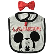 Disney Baby Boys Character, Mickey Mouse Hello Handsome bib/Bowtie Set, Infant