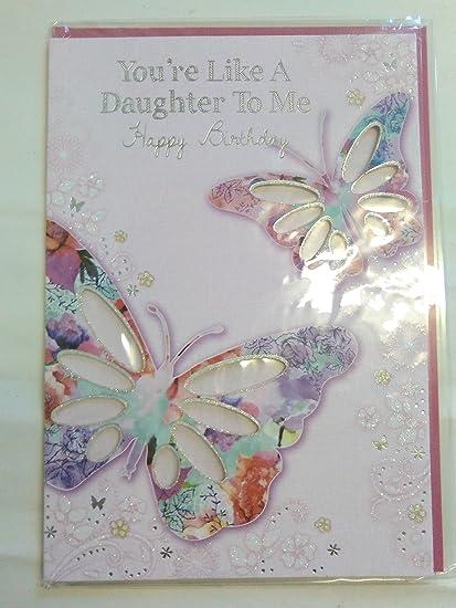 Eres Como una hija A Mí feliz cumpleaños tarjeta rosa/plata ...