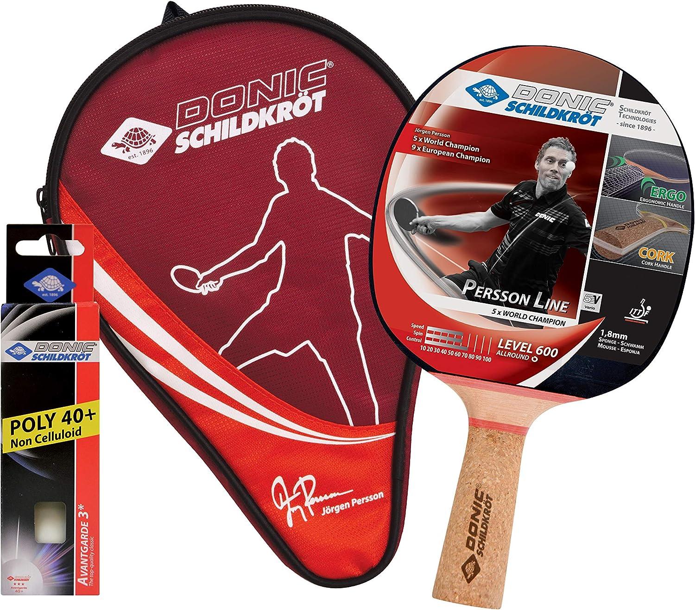 Donic-Schildkröt Juego de Regalo de Tenis de Mesa Persson 600, 1 Raqueta con Mango de Corcho, 3 Pelotas 3 Estrellas, 1 Funda, 788487