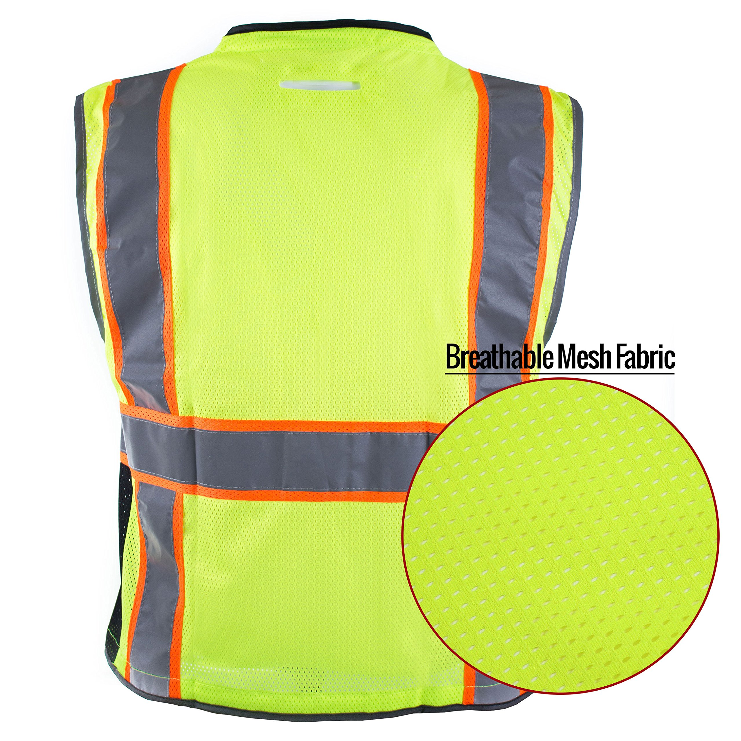 RK Safety P6612 Class 2 High Visible Two Tone Reflective Strips Breathable Mesh Vest, Pockets Harness D-Ring Pass Thru, ANSI/ISEA, Construction Motorcycle Traffic Emergency (Lime, Medium) by New York Hi-Viz Workwear (Image #6)