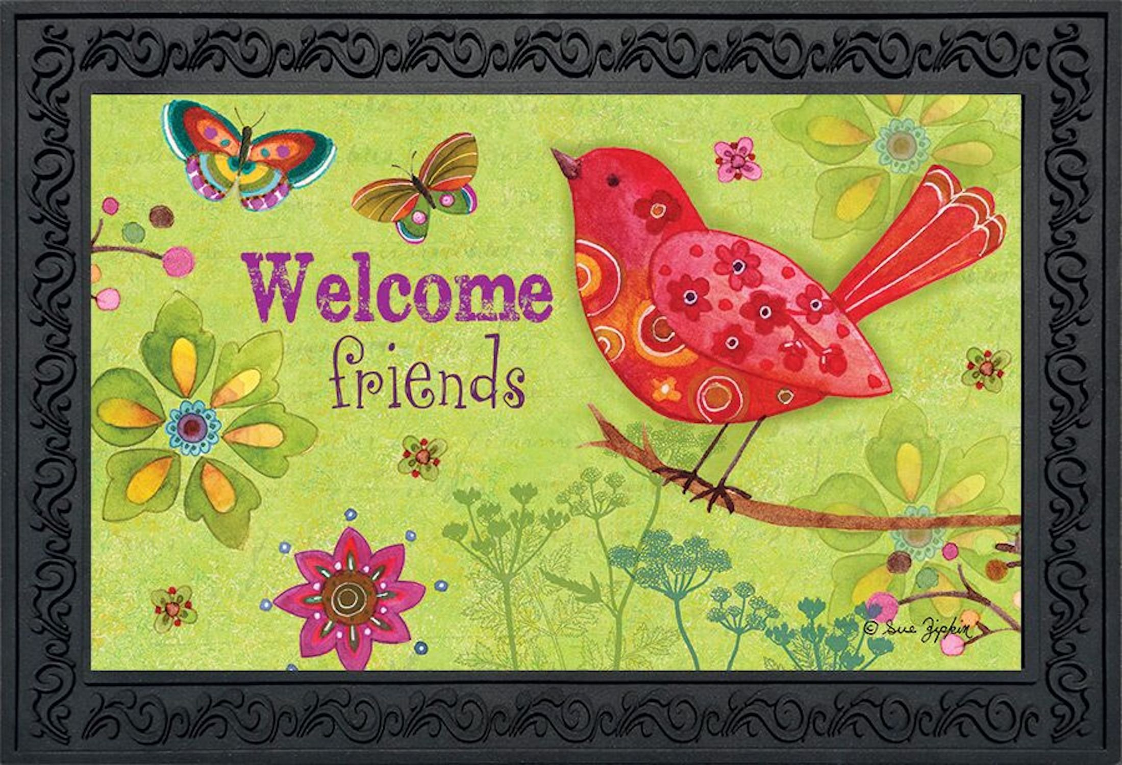 Butterflies and Birds Spring Doormat Indoor Outdoor Welcome Floral 18'' x 30''