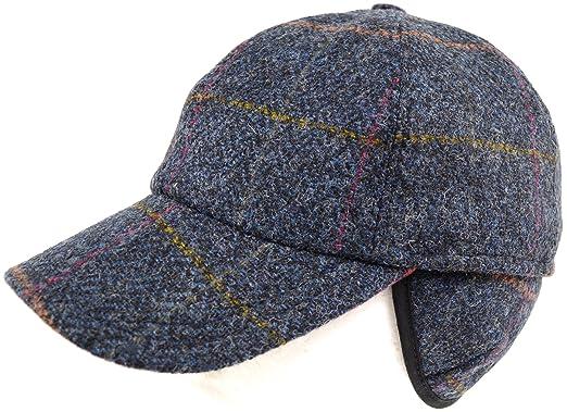 Mens 100% Wool   Tweed Shooting Baseball Cap with Fold Down Ear Flaps - Blue 62a03c690d0