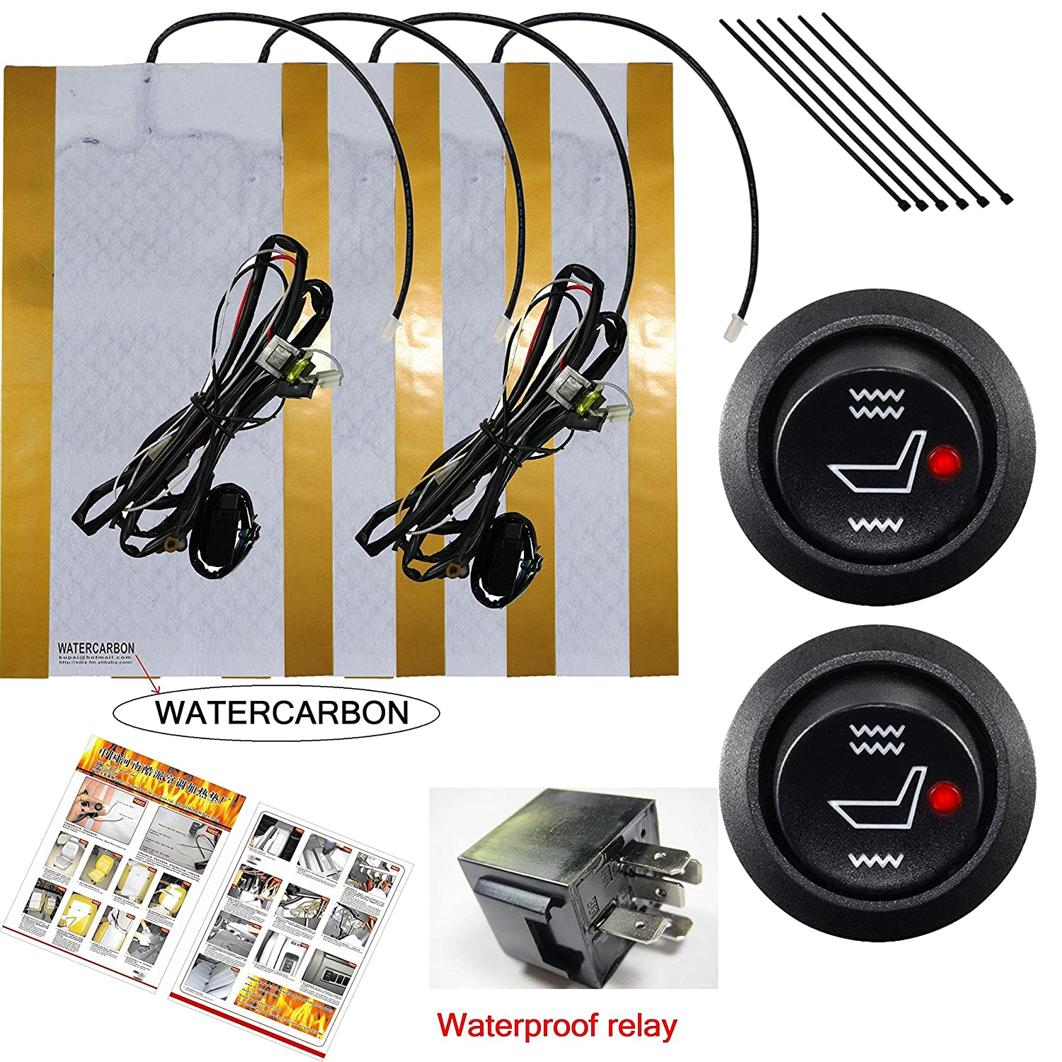 Watercarbon Water Carbon 12v Premium Heated Seat Kits Trailer Camper Adapter Circuit Etc Wiring Diagrams 1996 Ford Explorer For Two Seats Universal Electronic Equipment Dual Settings Electronics