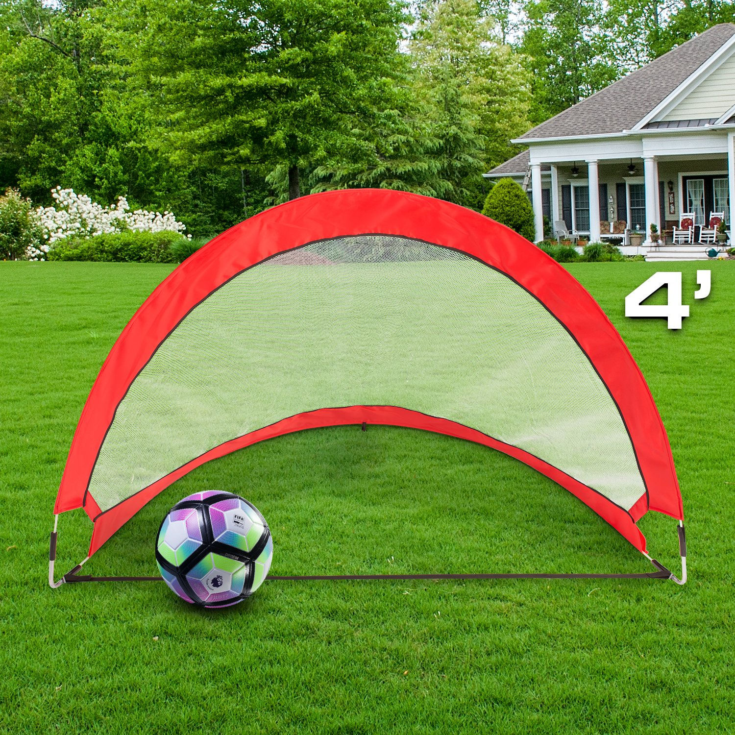 Abco Tech Portable Soccer Goal Set for Training, Practice & Game – Pop-up Soccer Net – 2 Soccer Goals, 6 Disc Cones & 8 Spikes – Carry Bag – Easy to Assemble & Store – Be it Backyard or Public Fields by Abco Tech (Image #6)