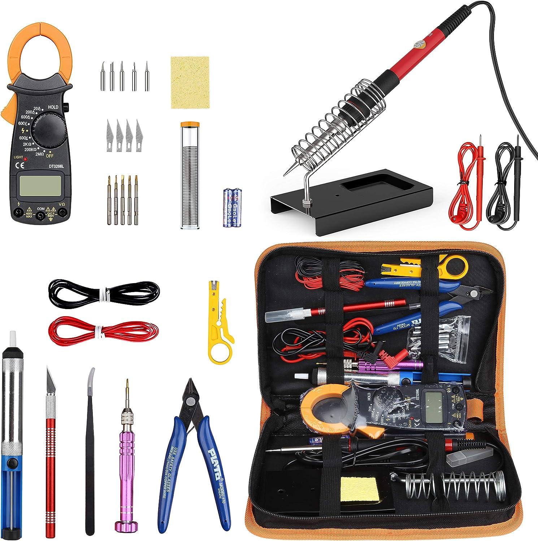 Kit de Soldador Estaño con Multímetro 28 Piezas, Kit de Soldadura Completo para Trabajos de Soldadura