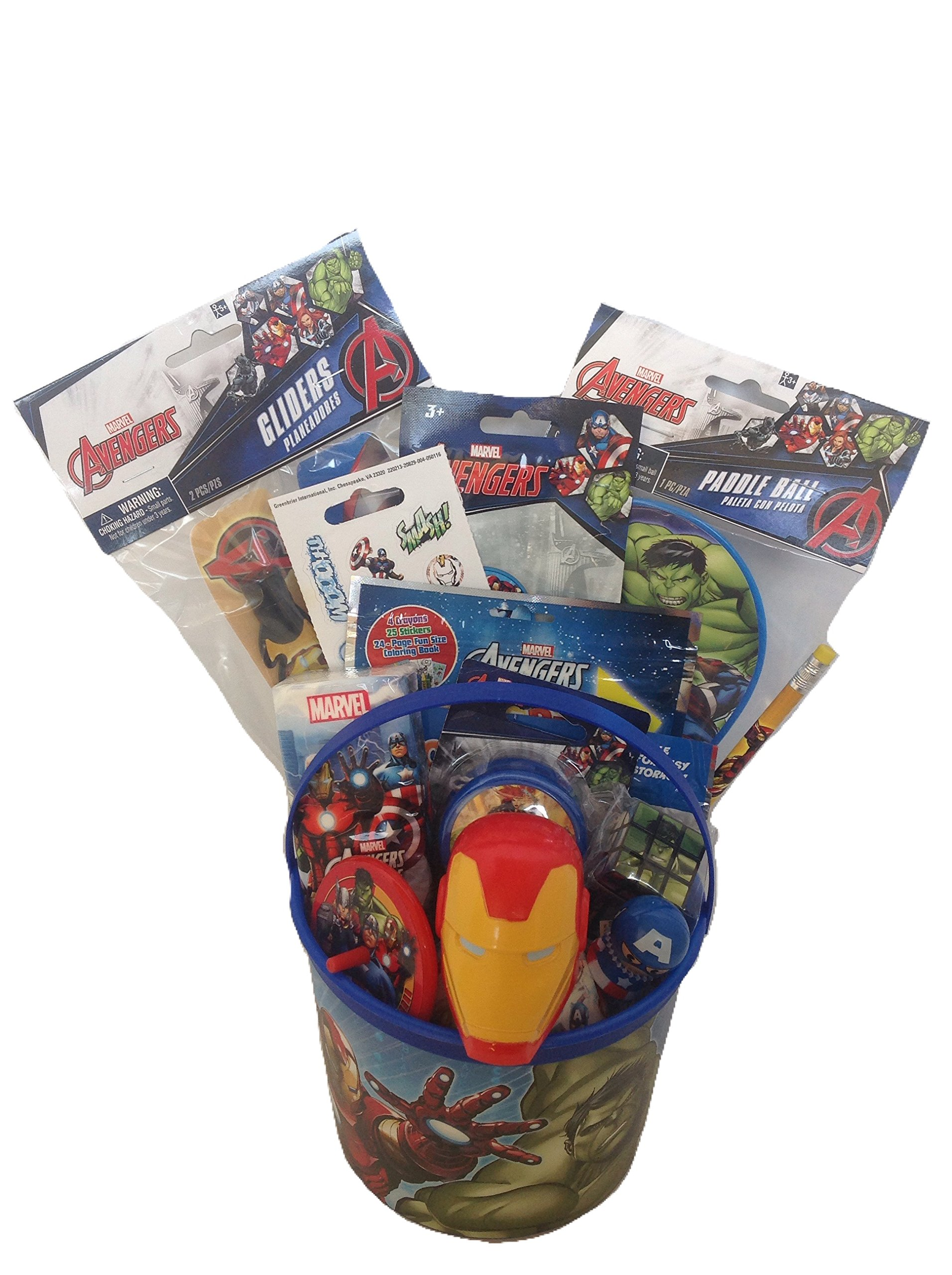 Marvel Avengers Small Bucket of Fun 10 Piece Gift Set Perfect for Easter Basket, Birthday, or any other Special Occassion