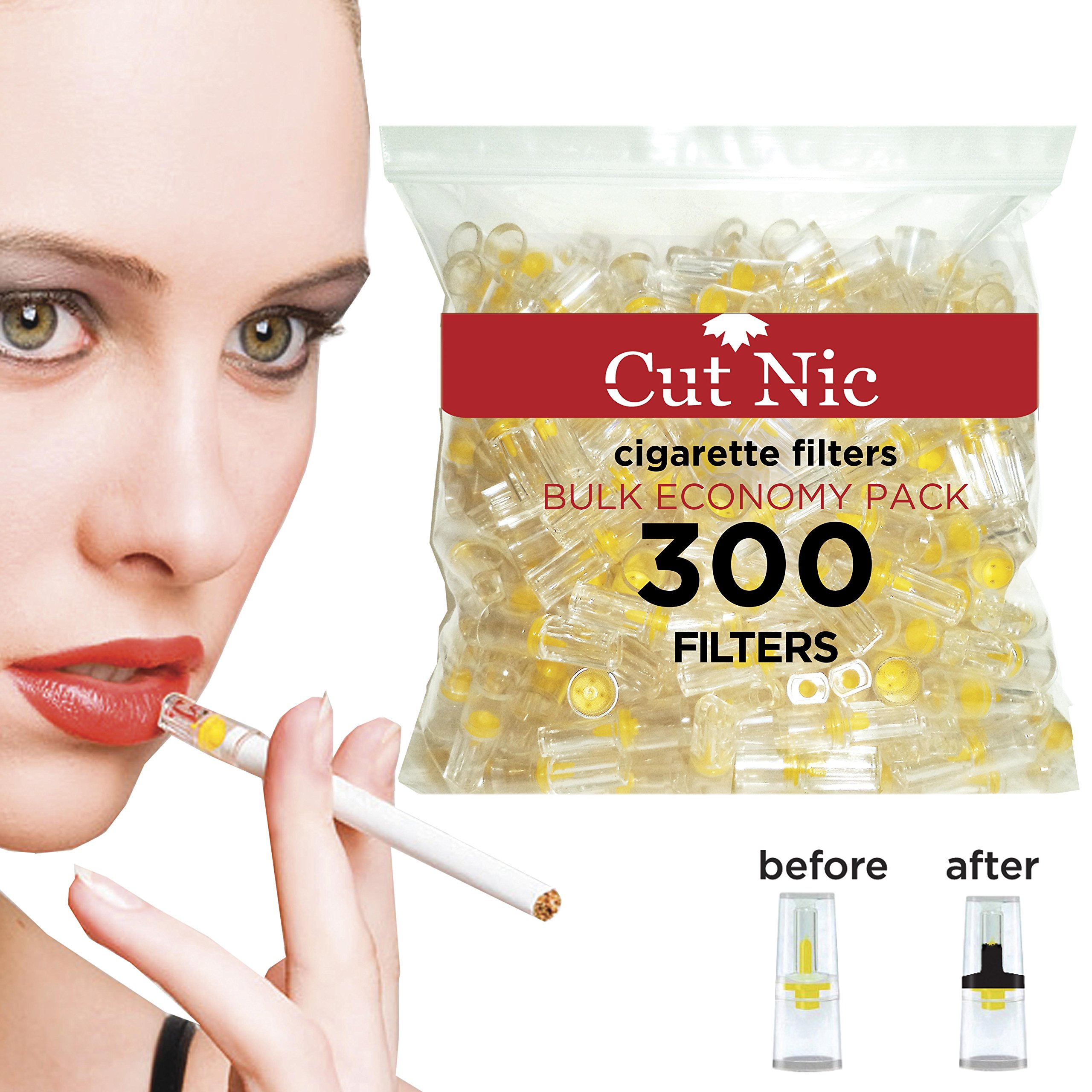 Cut-Nic 4 HOLE Disposable Cigarette Filters - Bulk Economy Pack (300 Per Pack) Filter Tips