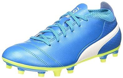 Puma Herren One 17.4 FG Fußballschuhe, Blau (Atomic Blue-White-Safety Yellow), 43 EU