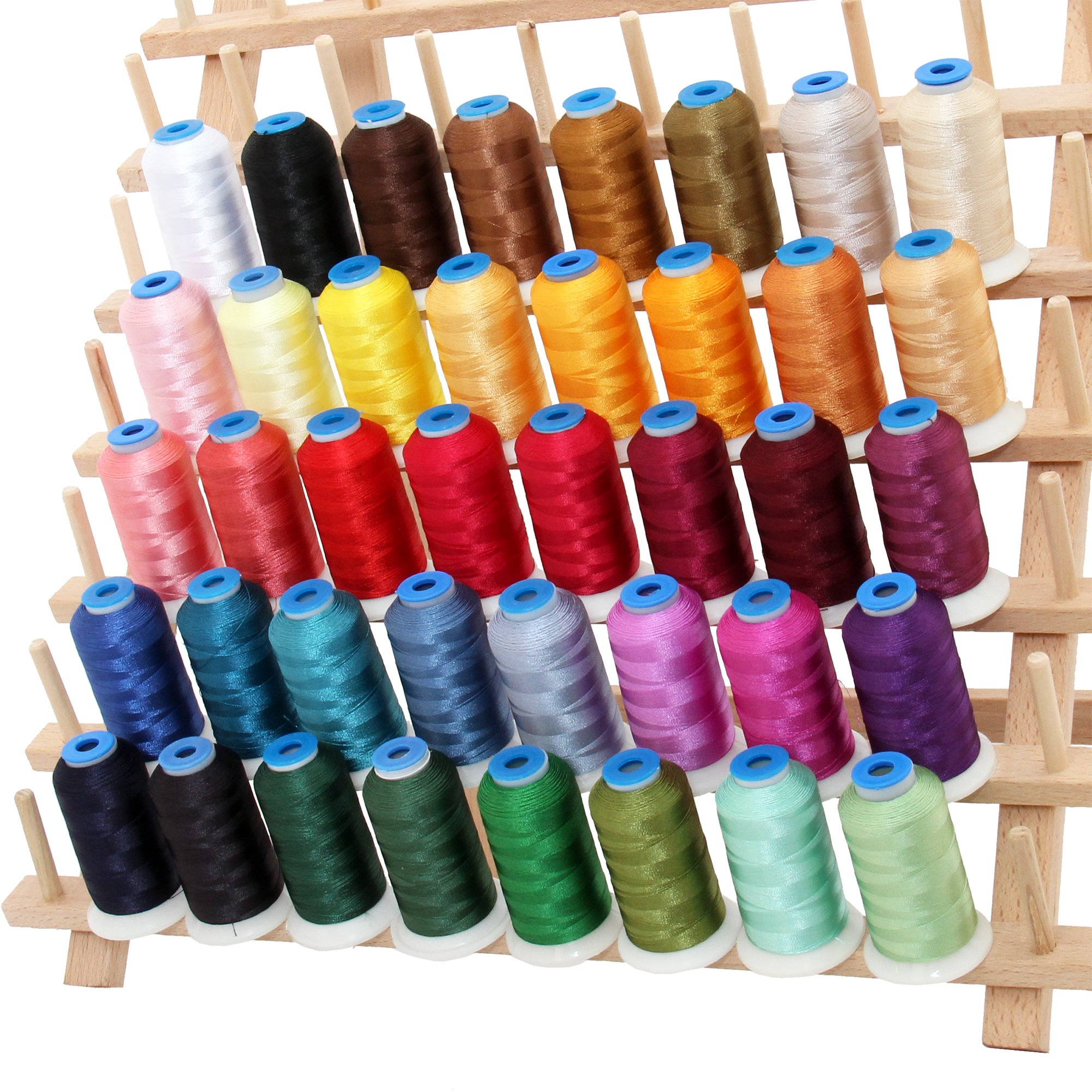 40 Cone Rayon Embroidery Thread Set - Set A Vibrant Colors - 1000m Cones - Threadart by Threadart