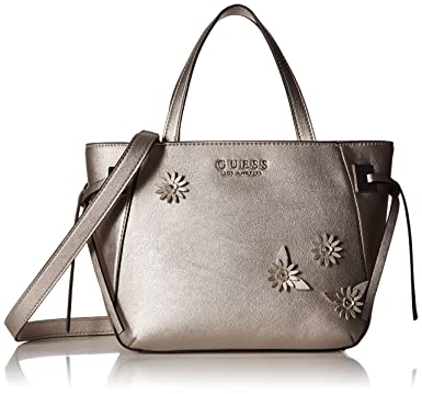 Amazon.com  GUESS Lizzy Metallic Satchel, pewter  Clothing 4a9434b20c