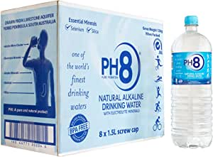 PH8 Natural Alkaline Water - 100% Naturally Alkaline Spring Water with Electrolyte Minerals