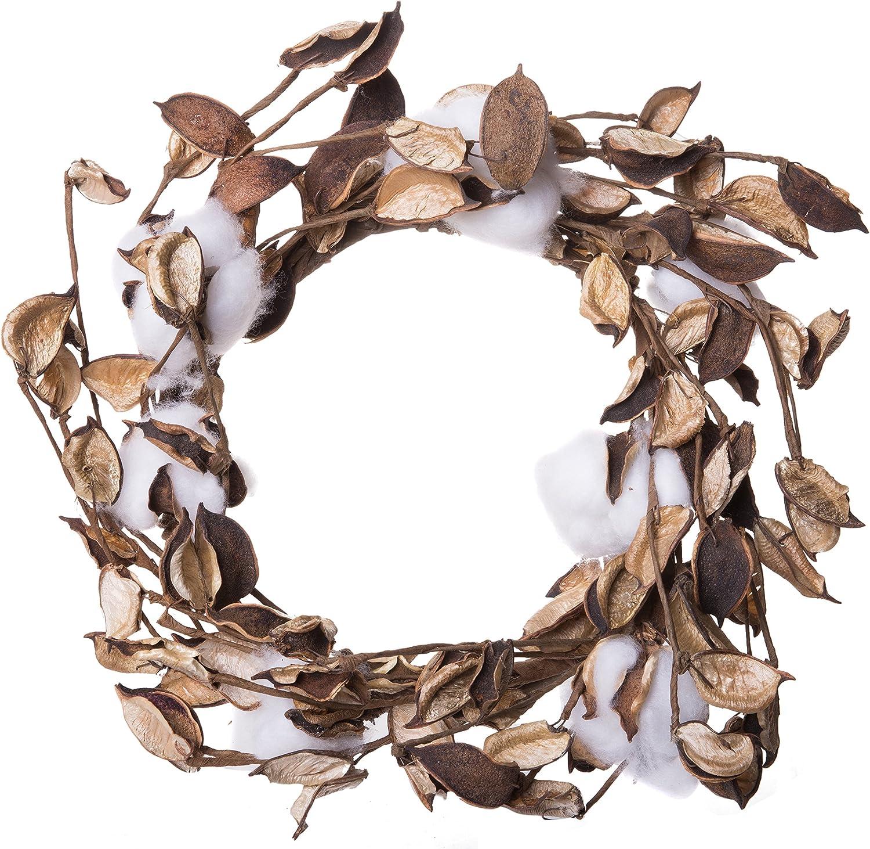 "18"" Cotton Boll Wreath Centerpiece Farmhouse Decor Rustic Ring Country Style"
