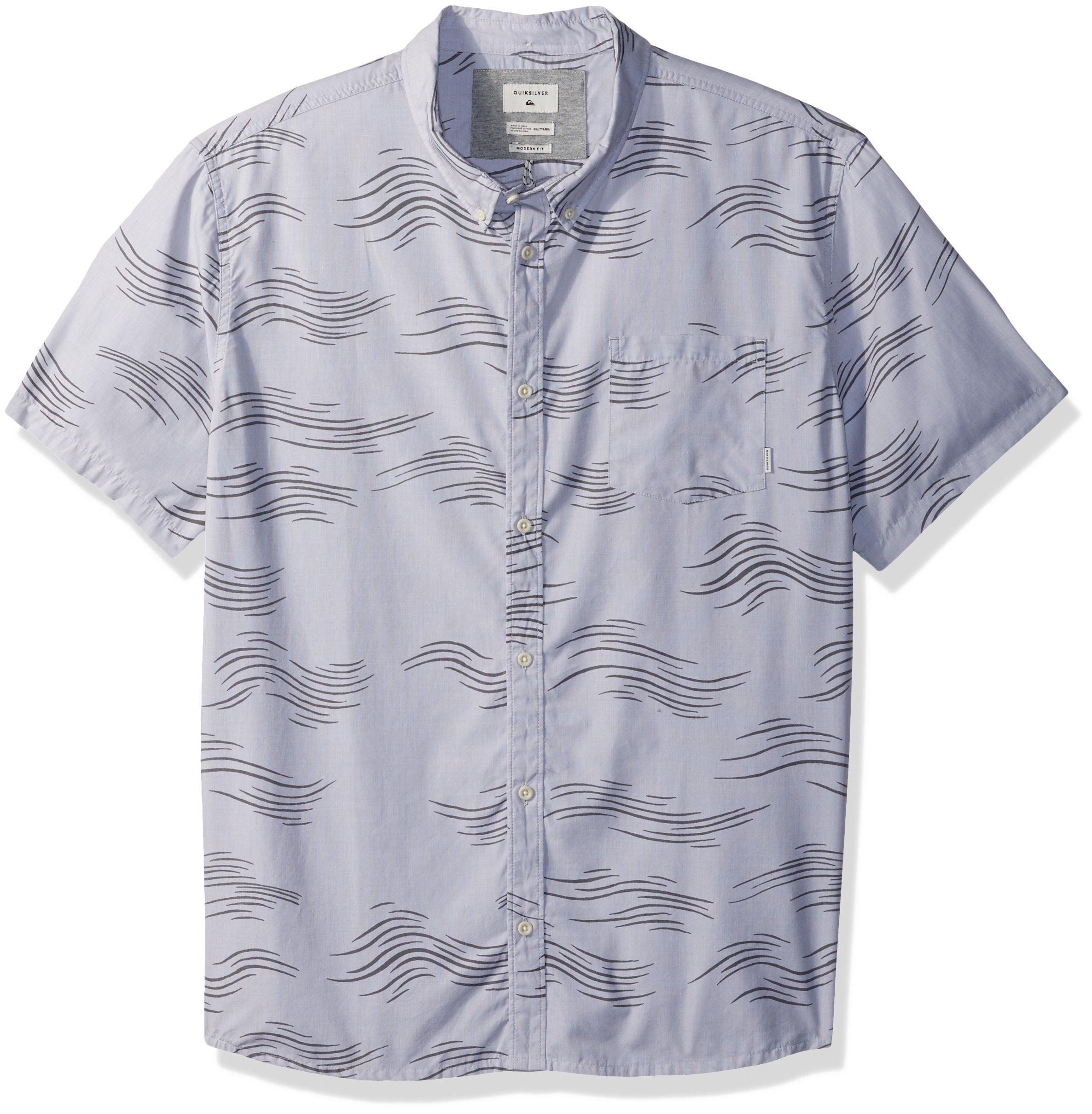 Quiksilver Men's Valley Groove Print Short Sleeve Button Down Shirt, Sleet Valley Grove, M