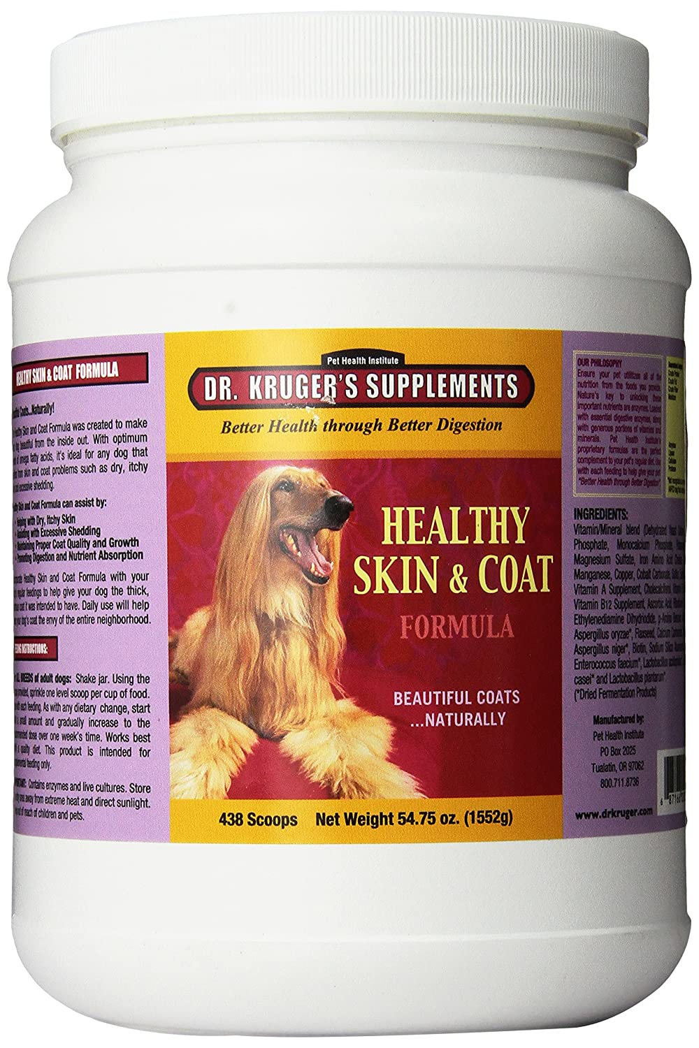 Dr Kruger Pet Supplements Healthy Skin And Coat Food For Dogs, 54.75-Ounce