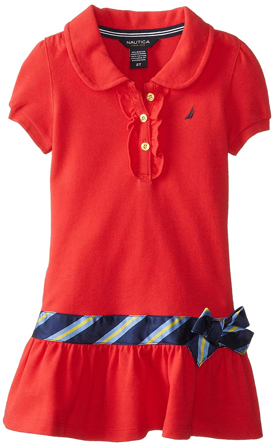 Nautica Little Girls Pique Polo Dress with Gold Buttons, Dark Red ...