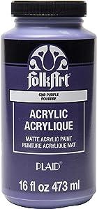FolkArt Matte Acrylic Paint in Assorted Colors, 16 oz, Purple 16 Fl Oz