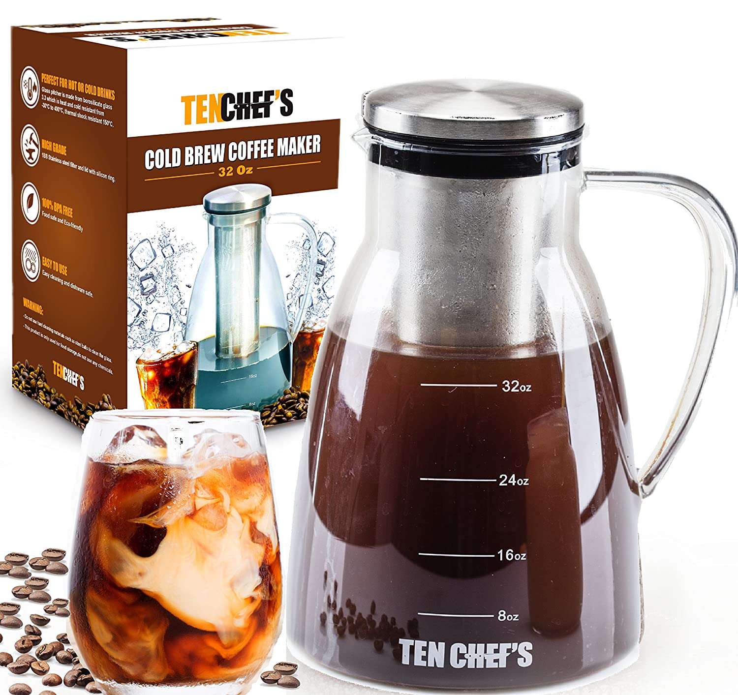 ONE DAY SALE – Cold Brew Coffee Maker and Tea infuser – 32OZ – Premium Glass pitcher with lid Stainless Steel FilterPerfect For Homemade Cold Brew and Iced Coffee,Easy to clean and wash by Tenchefs