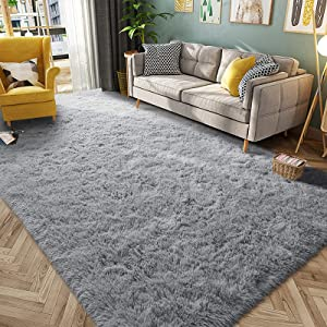 HQAYW Modern Fluffy Area Rug, Shaggy Rugs for Bedroom Living Room Ultra Soft Shag Fur Carpets for Kids Girls Nursery Plush Fuzzy Rug Cute Home Decor Rug, 5' x 8', Grey