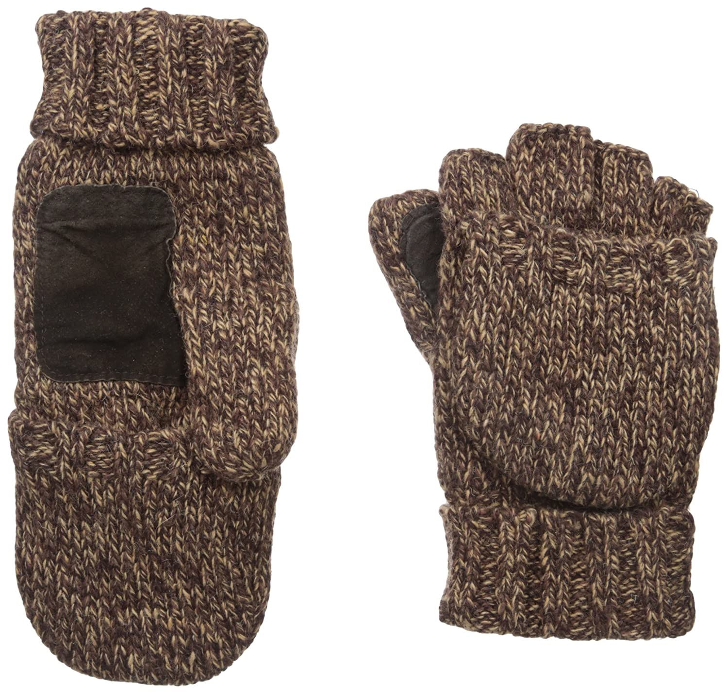 Mens gloves with mitten flap - Men S Rag Wool Convertible Fingerless Lined Gloves With Mitten Covers S M Brown At Amazon Men S Clothing Store