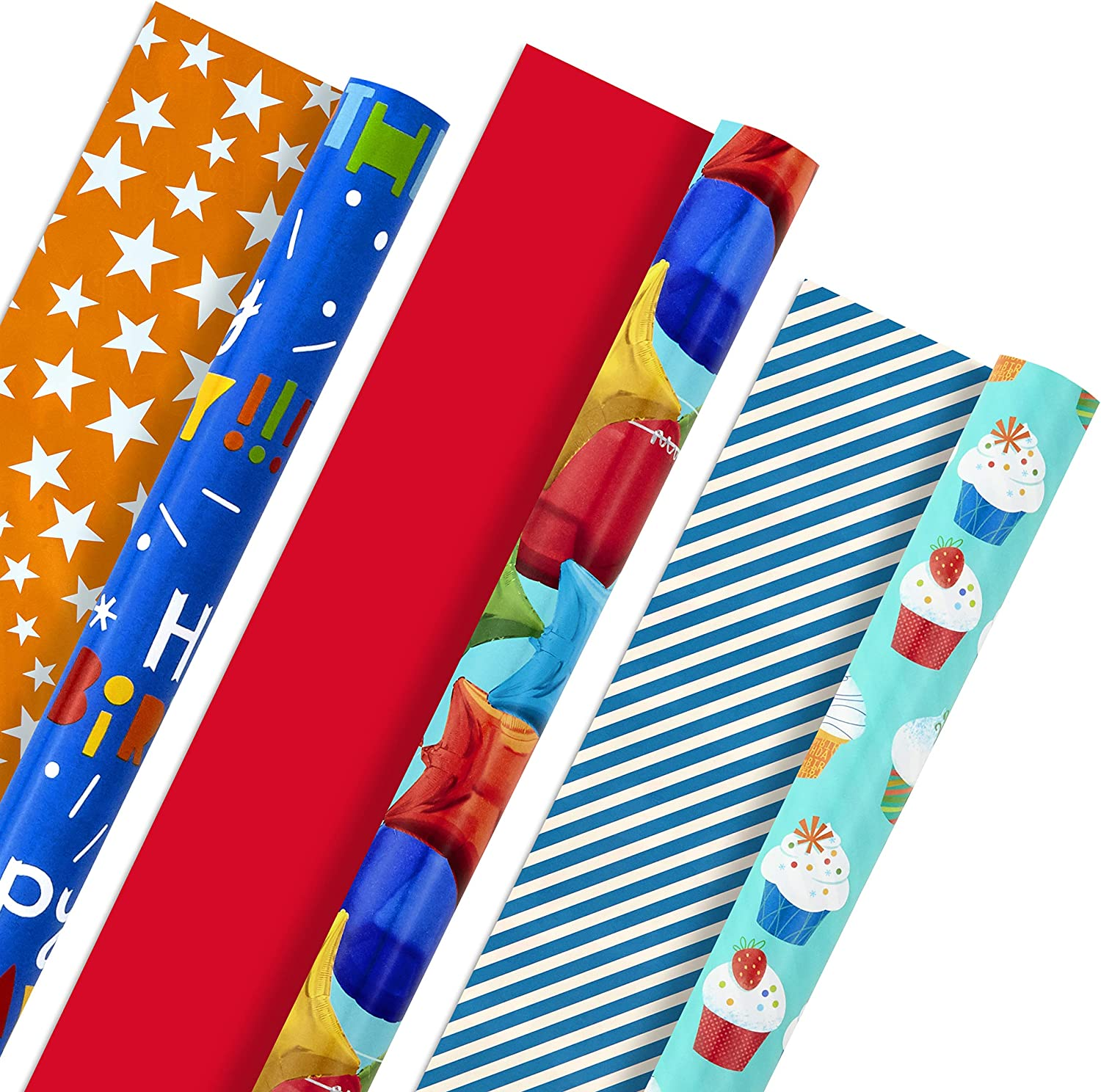 Hallmark All Occasion Reversible Wrapping Paper Bundle - Kids Birthday (3 Rolls - 75 sq. ft. ttl) Balloons, Stars, Cupcakes, Blue Stripes, Solid Red: Kitchen & Dining