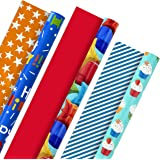 Hallmark All Occasion Reversible Wrapping Paper Bundle - Kids Birthday (3 Rolls - 75 sq. ft. ttl) Balloons, Stars, Cupcakes,