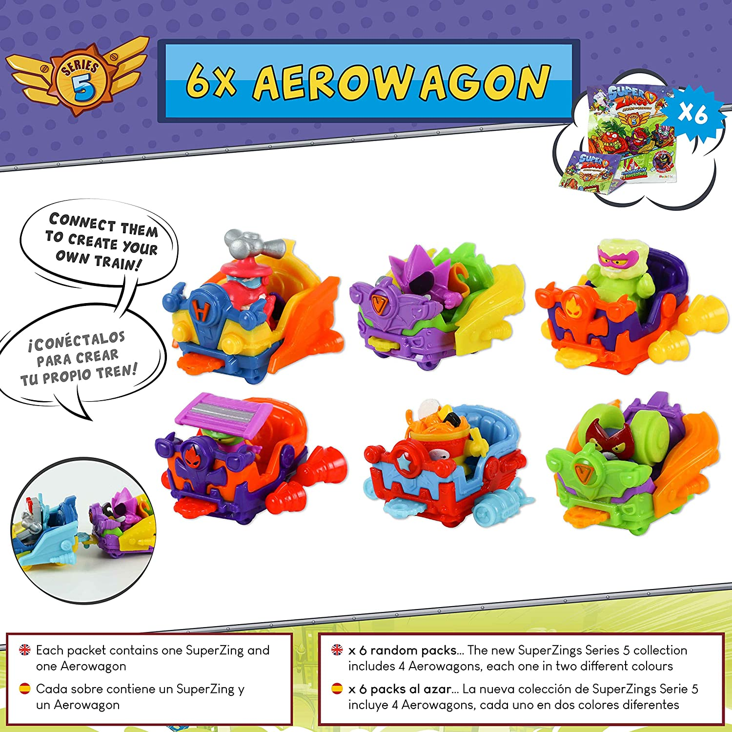 SuperZings Serie 5 - Bank Assault Mission 4 y Pack Sorpresa con 17 Sets | Contiene Blíster Bank Assault, 10 Sobres One Pack, 6 Aerowagons y 1 Skyracer | Juguetes y Regalos para Niños: Amazon.es: Juguetes y juegos