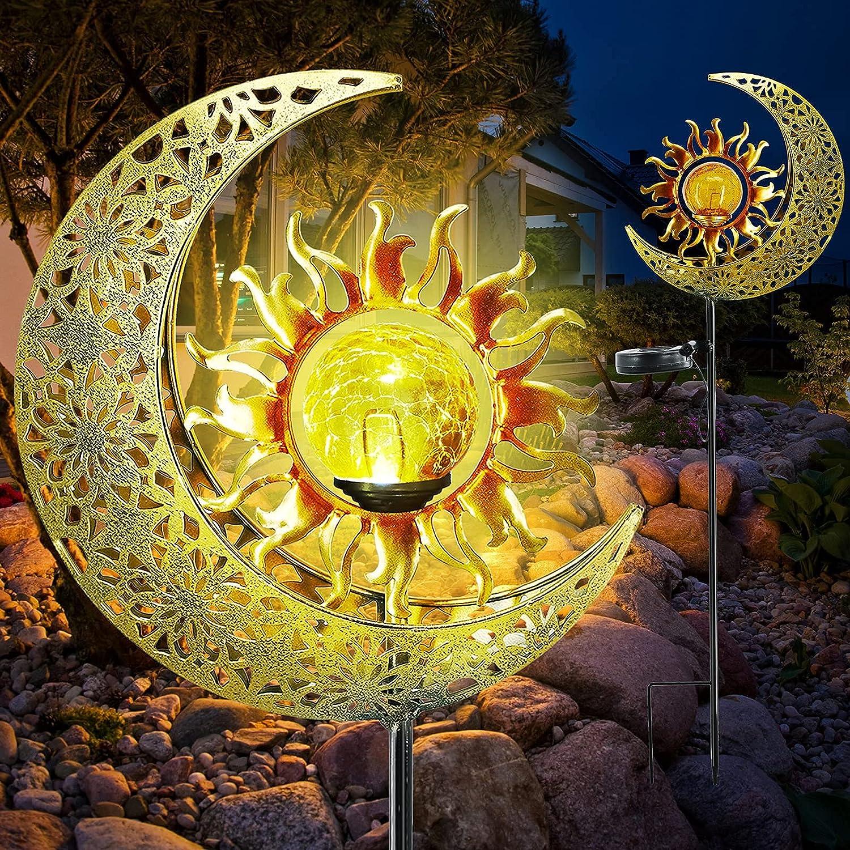 Garden Solar Light Outdoor Decorative, Moon with Sun Decor, Crackle Glass Globe Metal Waterproof Garden Stake Light for Pathway, Lawn, Patio, Yard