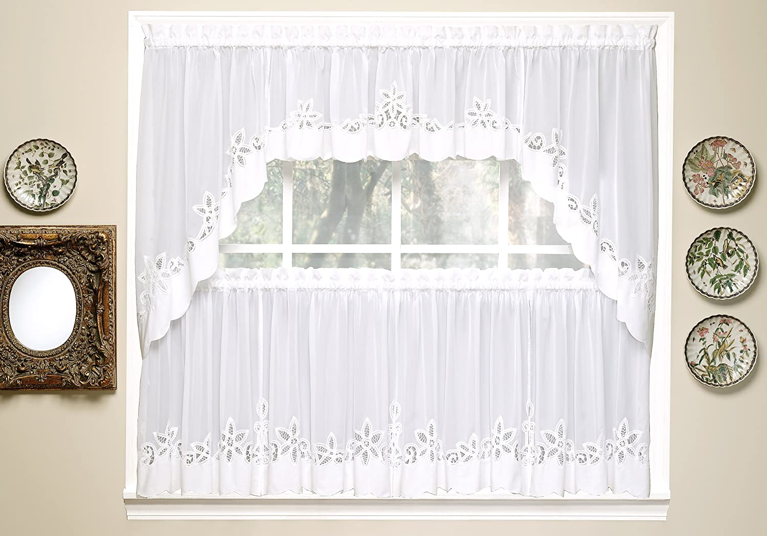 24 Inch Todays Curtain Plymouth Classic Battenburg Applique Sheer Window Tier White Home Decor Tiers Swags Valances