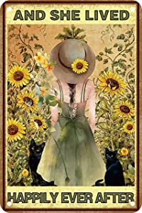 Sunflower Girl Room Summer Decor Gifts Funny Bathroom Decor Wall Art Coffee Bar Vintage Metal Tin Sign - and She Lived Happily Ever After - Office Home Bedroom Signs Wall Decor 8 X 12 Inch