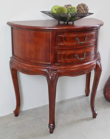 Hand Carved Wood Half Moon 2 Drawer Console Table