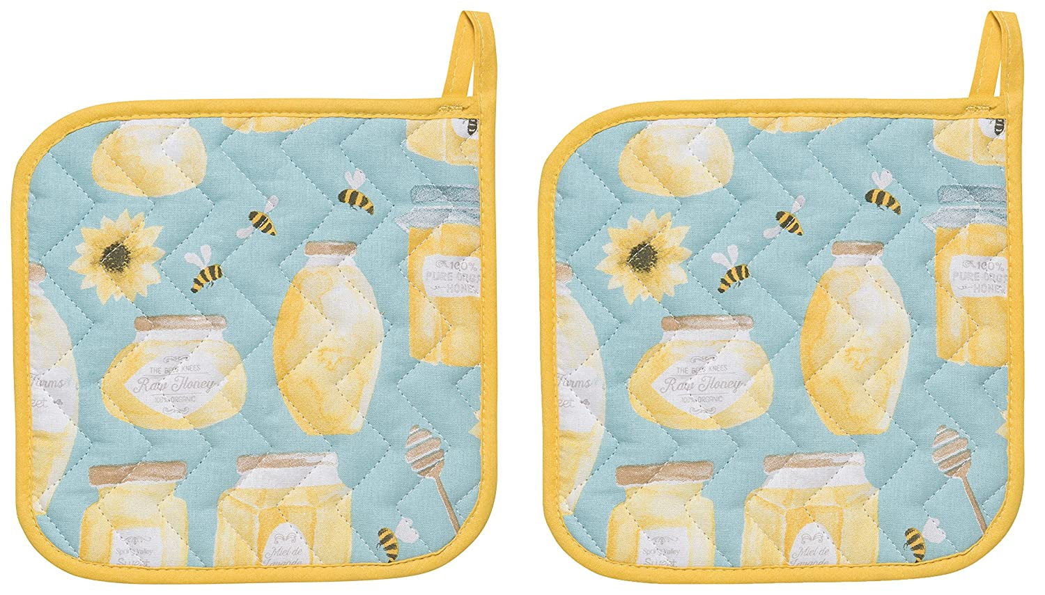 Now Designs Basic Potholders, Set of Two, Honeybee Danica Imports Ltd 505879aa