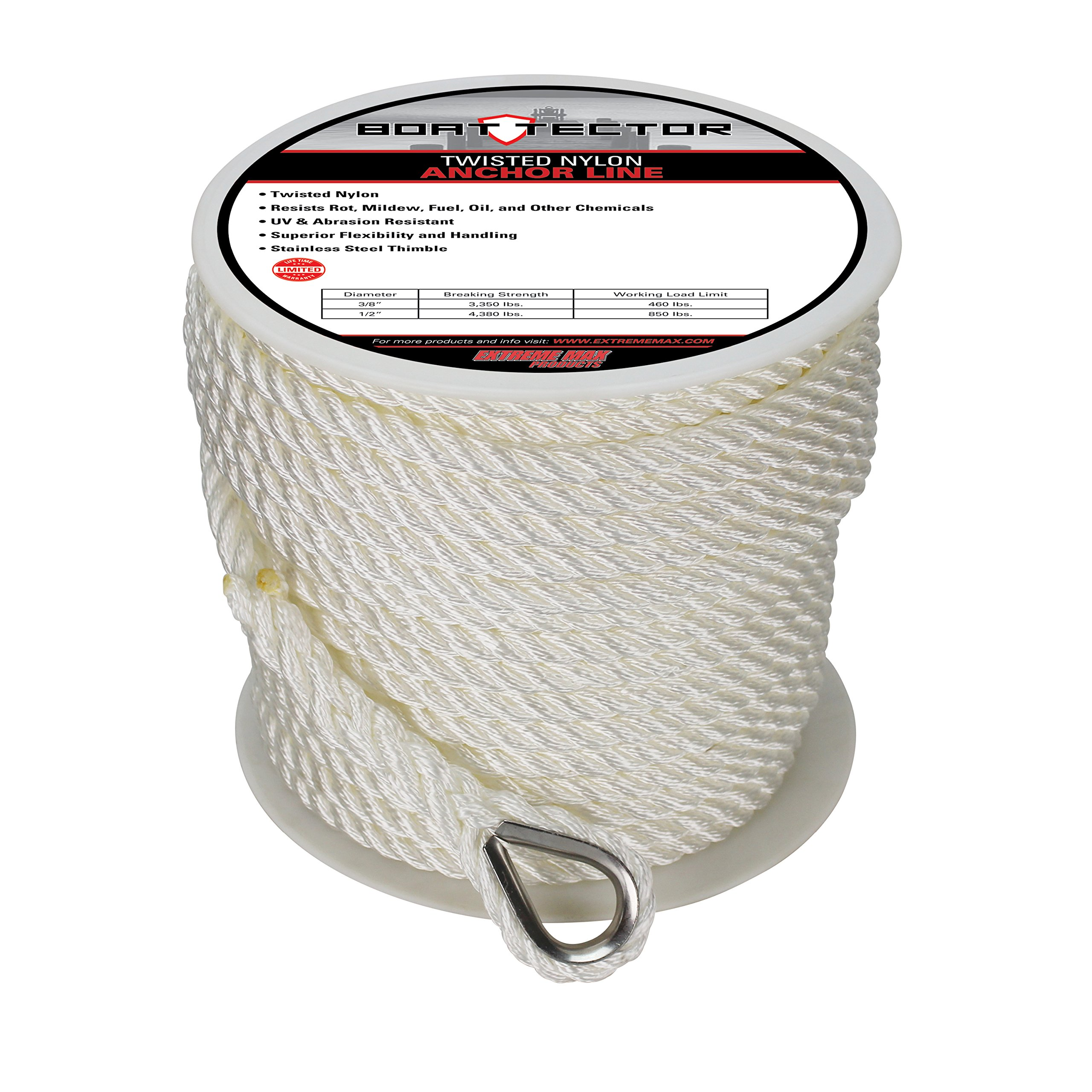 Extreme Max 3006.2306 BoatTector Twisted Nylon Anchor Line with Thimble - 1/2'' x 200', White