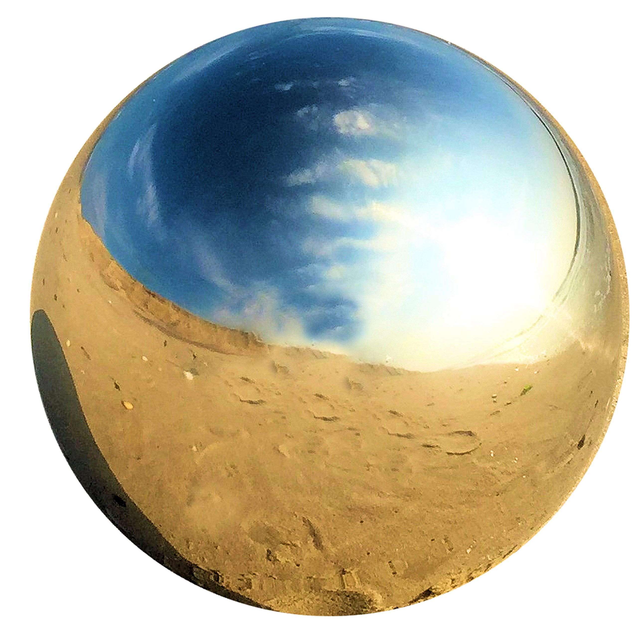 Whole House Worlds The Crosby Street Stainless Steel Gazing Ball for Homes and Gardens, 7'' Diameter, Mirror Globe, By